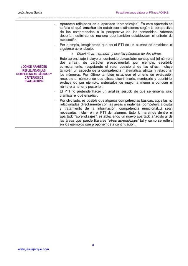 Jesús Jarque García  Procedimiento para elaborar un PTI para ACNEAE  -  -  ¿DÓNDE APARECEN REFLEJADAS LAS COMPETENCIAS BÁS...