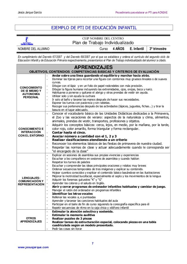 Jesús Jarque García  Procedimiento para elaborar un PTI para ACNEAE  EJEMPLO DE PTI DE EDUCACIÓN INFANTIL CEIP NOMBRE DEL ...