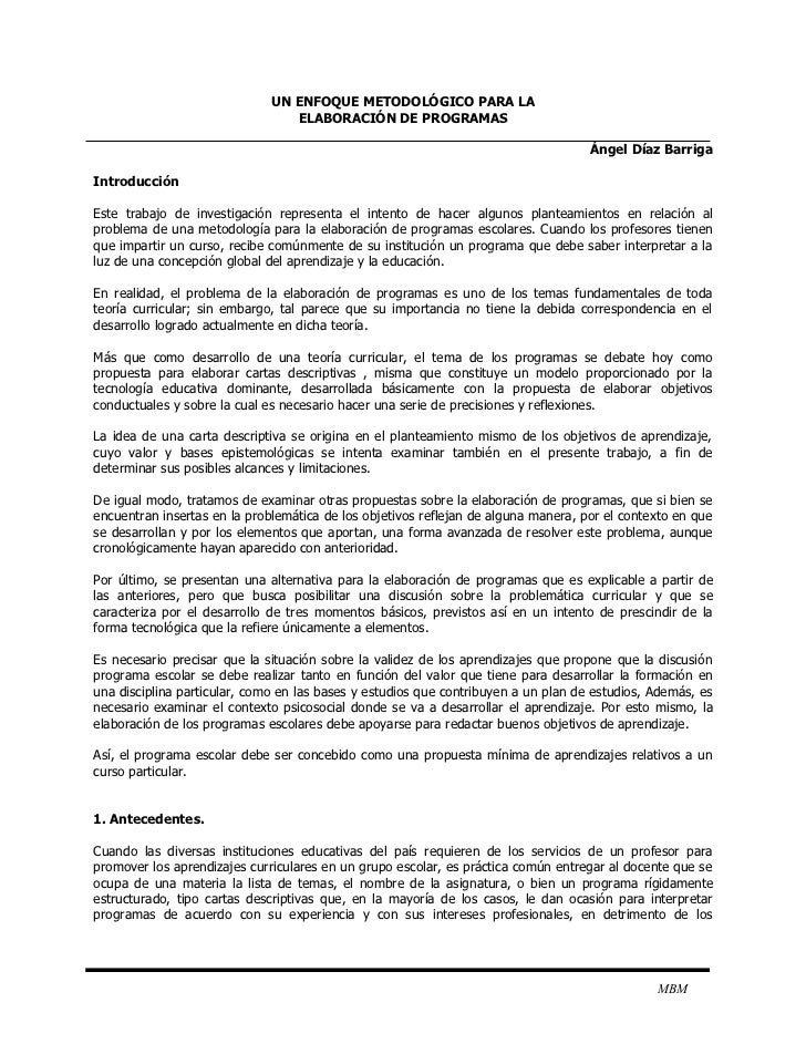 UN ENFOQUE METODOLÓGICO PARA LA                                  ELABORACIÓN DE PROGRAMAS                                 ...