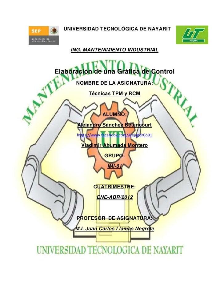 UNIVERSIDAD TECNOLÓGICA DE NAYARIT    ING. MANTENIMIENTO INDUSTRIALElaboración de una Gráfica de Control      NOMBRE DE LA...