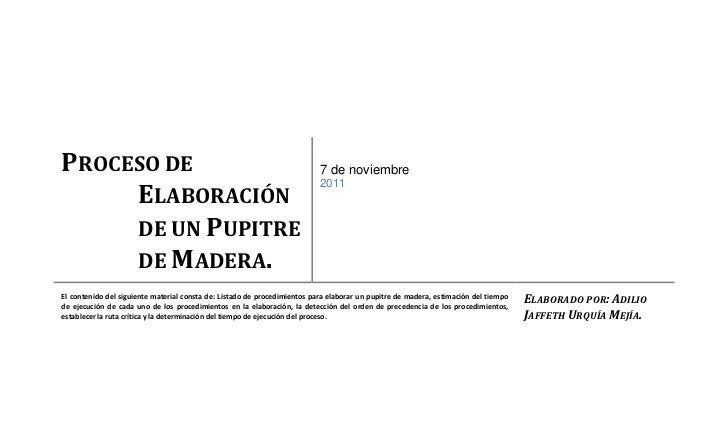PROCESO DE                                                                 7 de noviembre     ELABORACIÓN                 ...