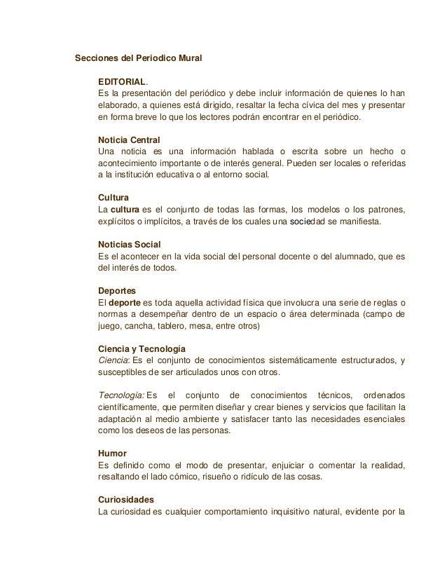 Elaboraci n e implementaci n de un periodico mural for El periodico mural y sus secciones