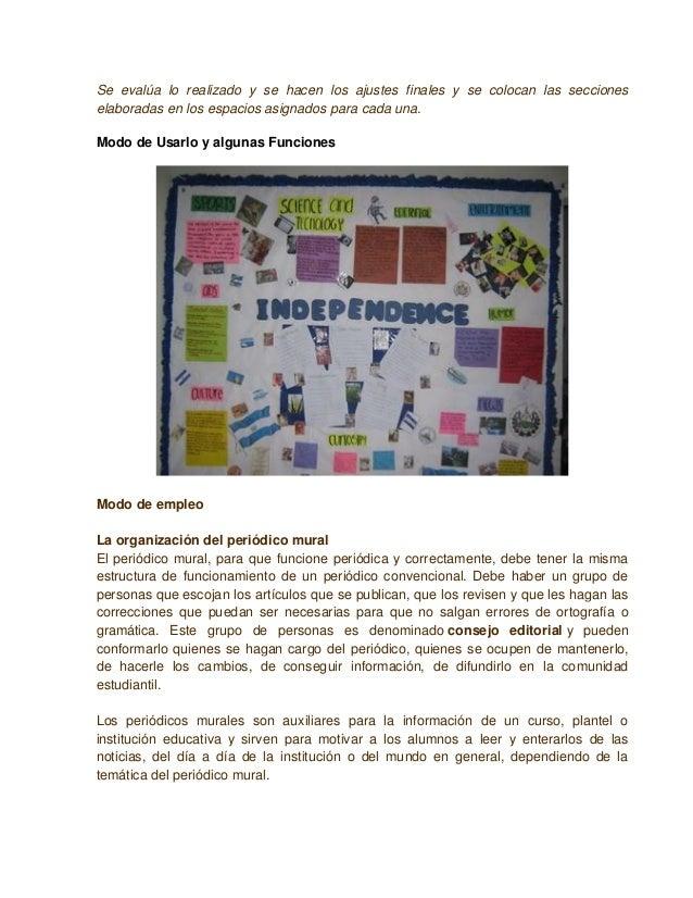 Elaboraci n e implementaci n de un periodico mural for Amenidades para periodico mural