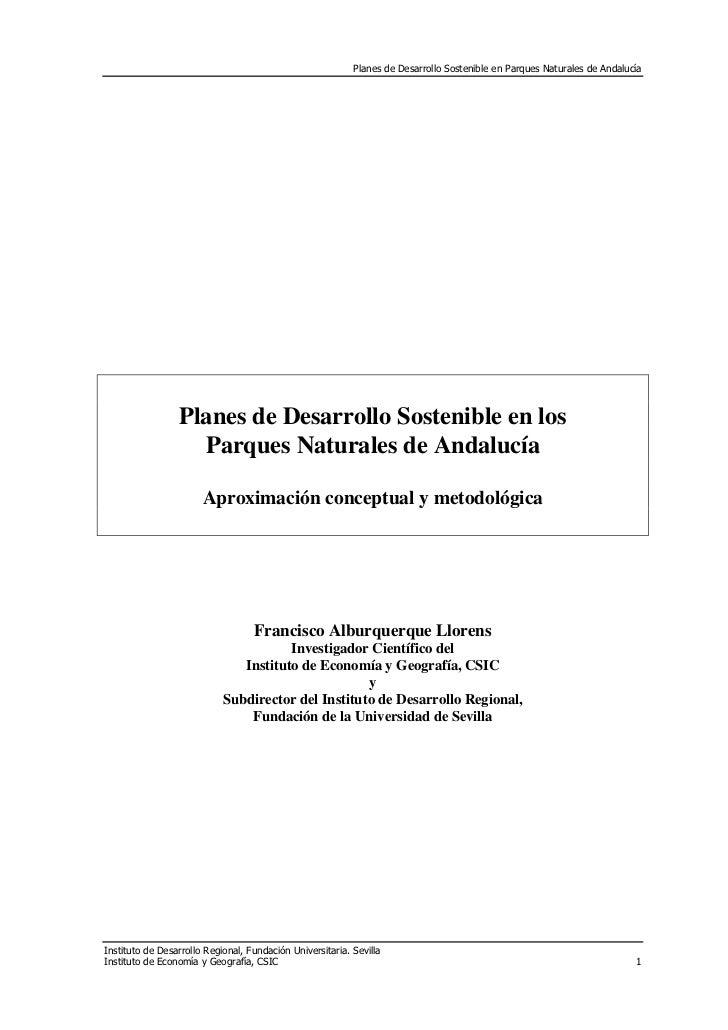 Planes de Desarrollo Sostenible en Parques Naturales de Andalucía                 Planes de Desarrollo Sostenible en los  ...