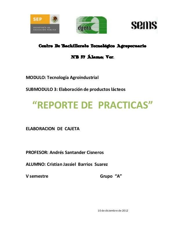 Centro De Bachillerato Tecnológico Agropecuario                     N° 57 Álamo; Ver.MODULO: Tecnología AgroindustrialSUBM...
