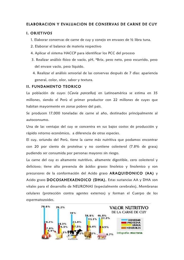 ELABORACION Y EVALUACION DE CONSERVAS DE CARNE DE CUYI. OBJETIVOS  1. Elaborar conservas de carne de cuy y conejo en envas...