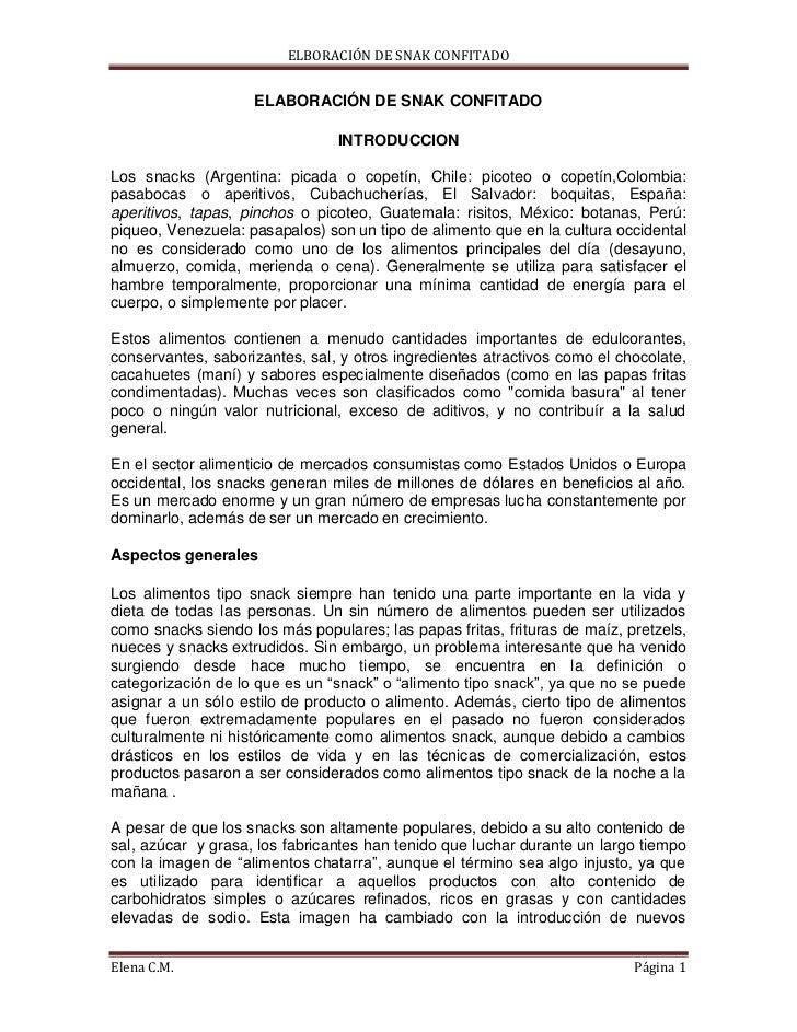 ELBORACIÓN DE SNAK CONFITADO                    ELABORACIÓN DE SNAK CONFITADO                                INTRODUCCIONL...