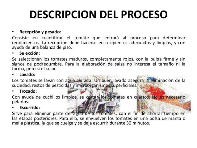 Elaboracion de la salsa de tomate for Descripcion del proceso de produccion