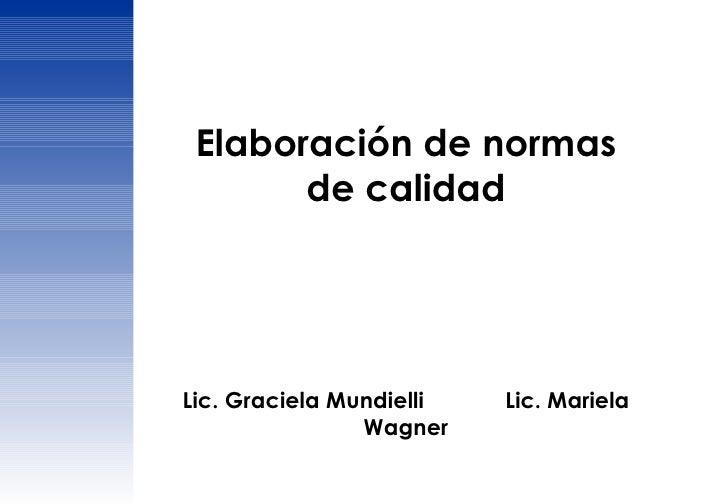 Elaboración de normas de calidad Lic. Graciela Mundielli  Lic. Mariela Wagner