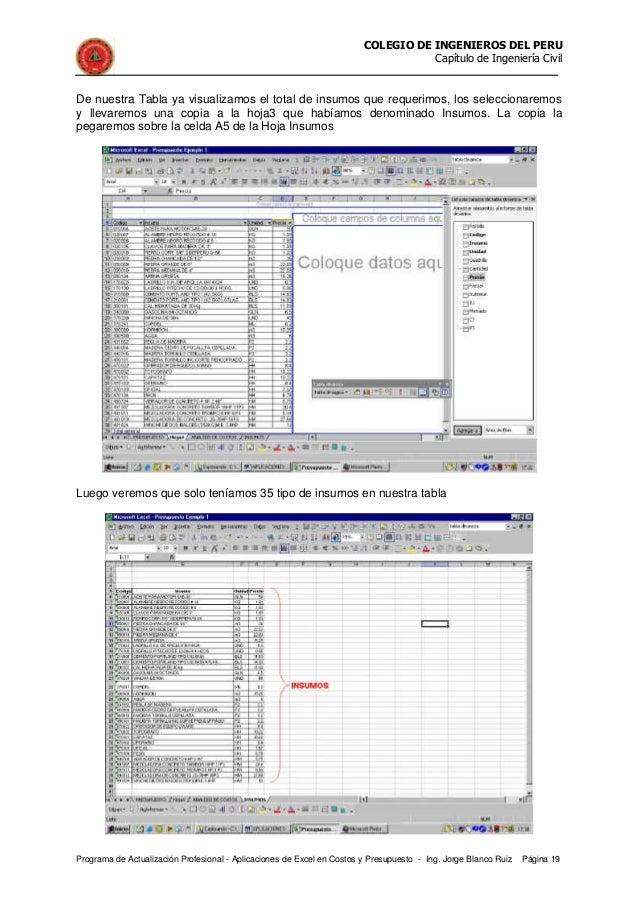 Elaboracion de presupuestos en exel