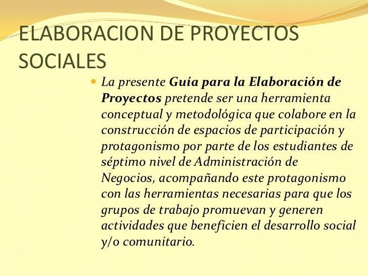 Elaboracion de proyectos sociales for Proyecto comedor comunitario pdf