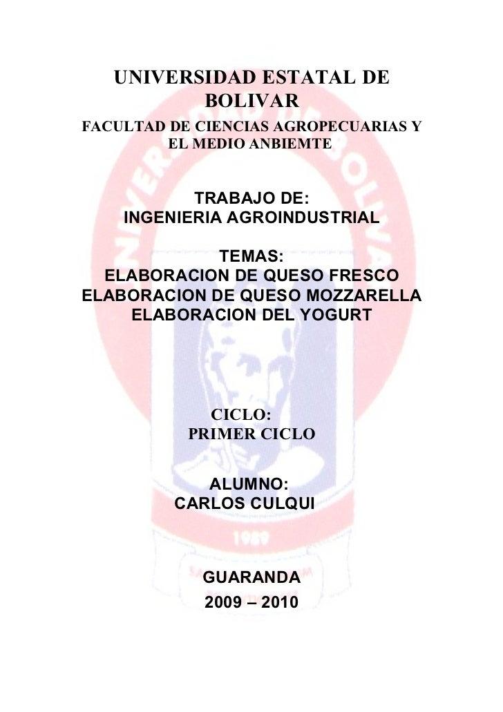 UNIVERSIDAD ESTATAL DE           BOLIVAR FACULTAD DE CIENCIAS AGROPECUARIAS Y          EL MEDIO ANBIEMTE              TRAB...