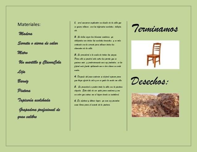 Elaboracion de silla de madera - Materiales para tapizar una silla ...
