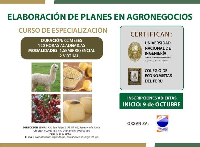 ELABORACIÓN DE PLANES EN AGRONEGOCIOS  CERTIFICAN:  UNIVERSIDAD  NACIONAL DE  INGENIERÍA  Facultad de Ingeniería Económica...