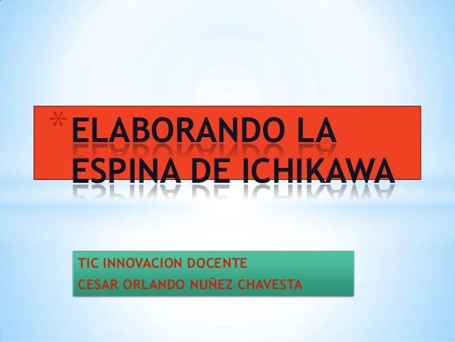 TIC INNOVACION DOCENTE CESAR ORLANDO NUÑEZ CHAVESTA *ELABORANDO LA ESPINA DE ICHIKAWA