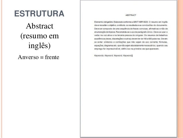 ESTRUTURA Abstract (resumo em inglês) Anverso = frente