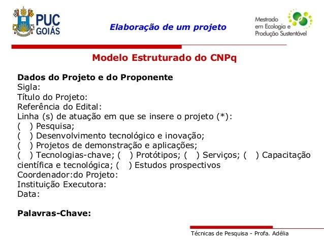 Técnicas de Pesquisa - Profa. Adélia Elaboração de um projeto Modelo Estruturado do CNPq Dados do Projeto e do Proponente ...