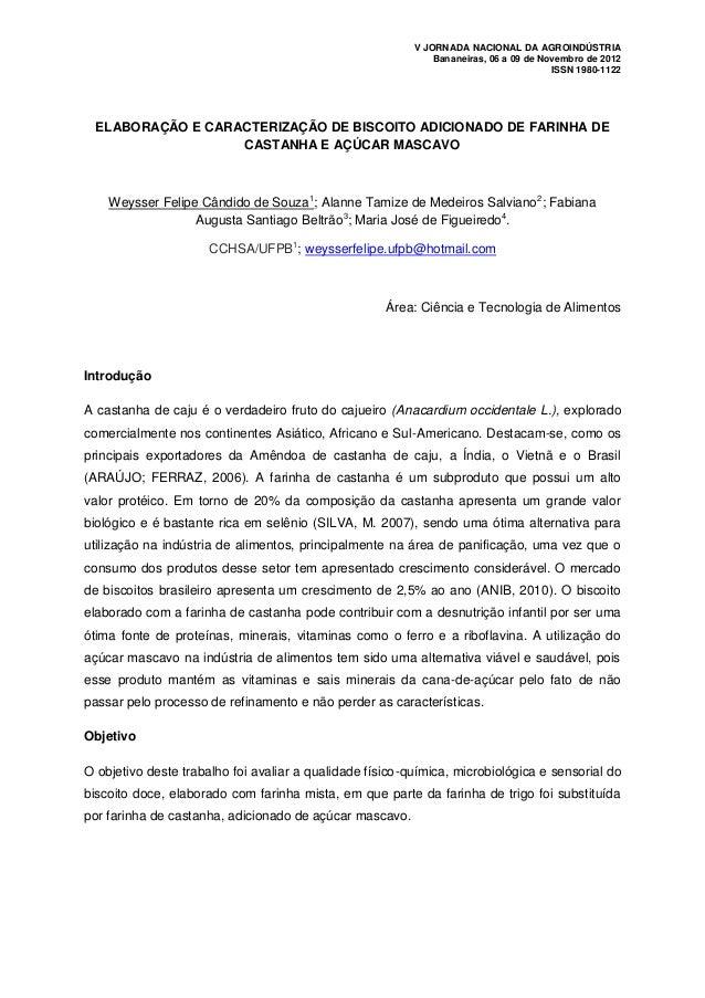 V JORNADA NACIONAL DA AGROINDÚSTRIA                                                              Bananeiras, 06 a 09 de No...