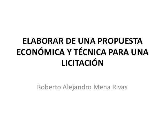 Elaborar Propuesta Tecnica Y Economica