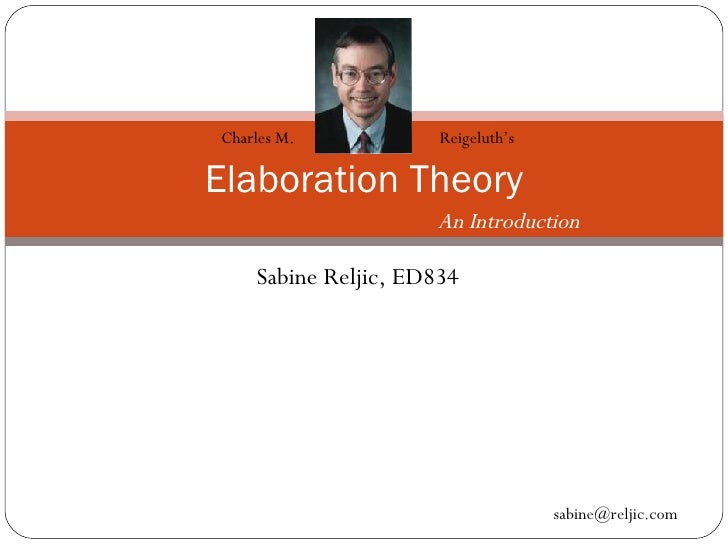 Sabine Reljic, ED834 Elaboration Theory Charles M.  Reigeluth's  An Introduction [email_address]