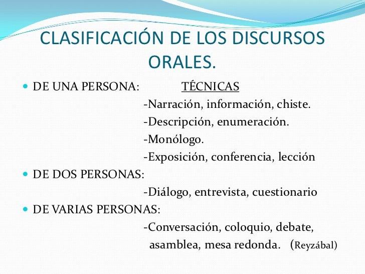 CLASIFICACIÓN DE LOS DISCURSOS               ORALES. DE UNA PERSONA:        TÉCNICAS                  -Narración, informa...