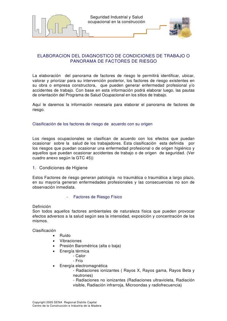 Seguridad Industrial y Salud                                        ocupacional en la construcción   ELABORACION DEL DIAGN...