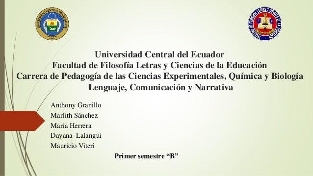 Universidad Central del Ecuador Facultad de Filosofía Letras y Ciencias de la Educación Carrera de Pedagogía de las Cienci...