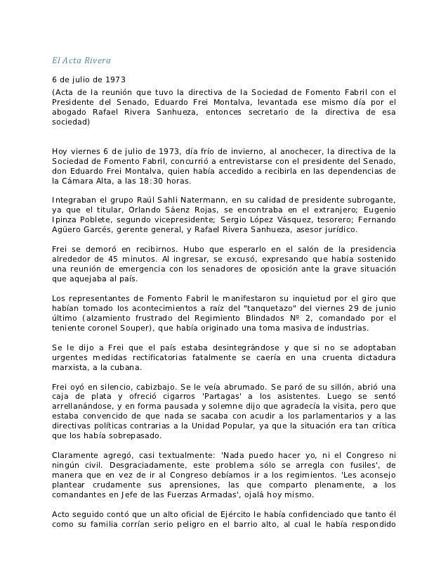 El Acta Rivera6 de julio de 1973(Acta de la reunión que tuvo la directiva de la Sociedad de Fomento Fabril con elPresident...