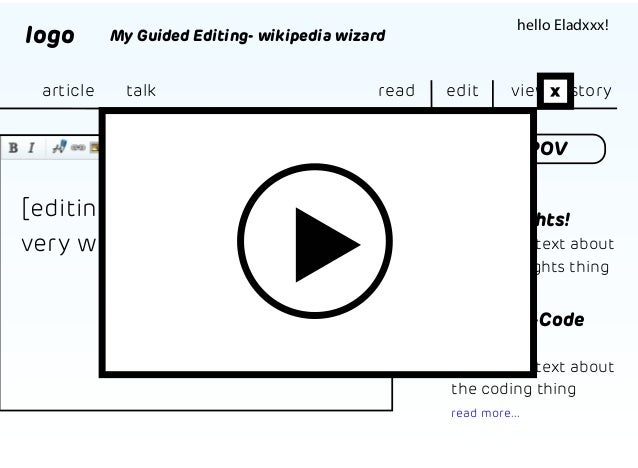 logo article  hello Eladxxx!  My Guided Editing- wikipedia wizard  talk  read  edit  view x history  Anti POV read about.....