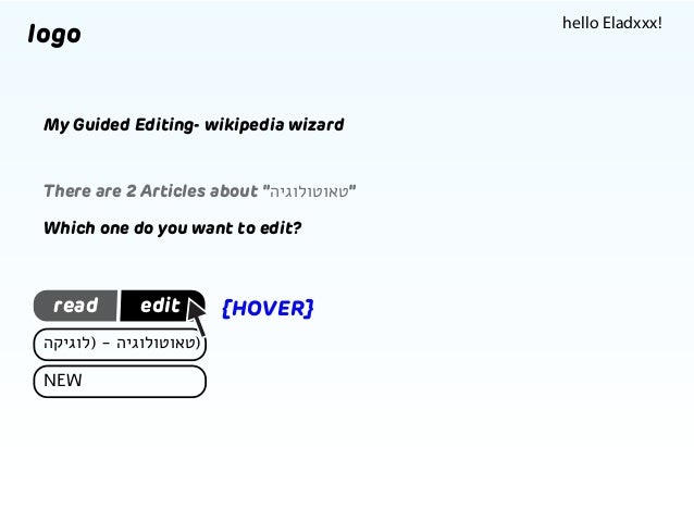 """hello Eladxxx!  logo My Guided Editing- wikipedia wizard  There are 2 Articles about """"""""טאוטולוגיה Which one do you want ..."""