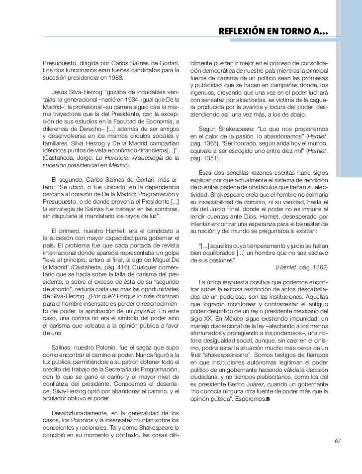 REFLEXIÓN EN TORNO A...Presupuesto, dirigida por Carlos Salinas de Gortari.       cilmente pueden ir mejor en el proceso d...