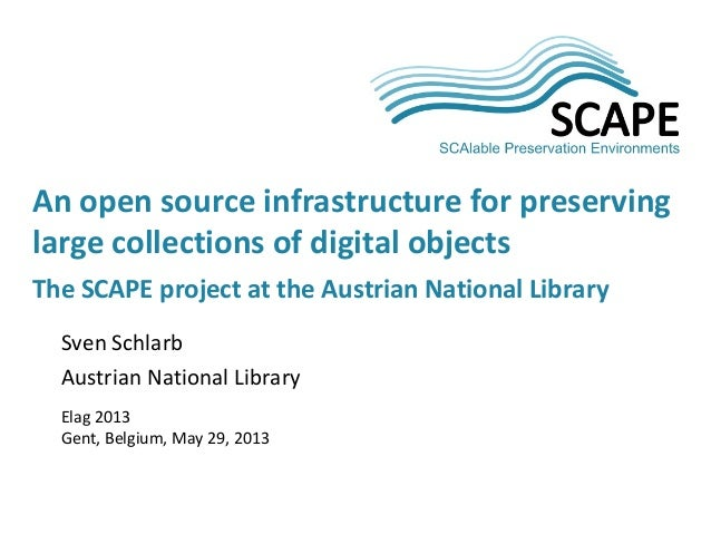 Sven SchlarbAustrian National LibraryElag 2013Gent, Belgium, May 29, 2013An open source infrastructure for preservinglarge...