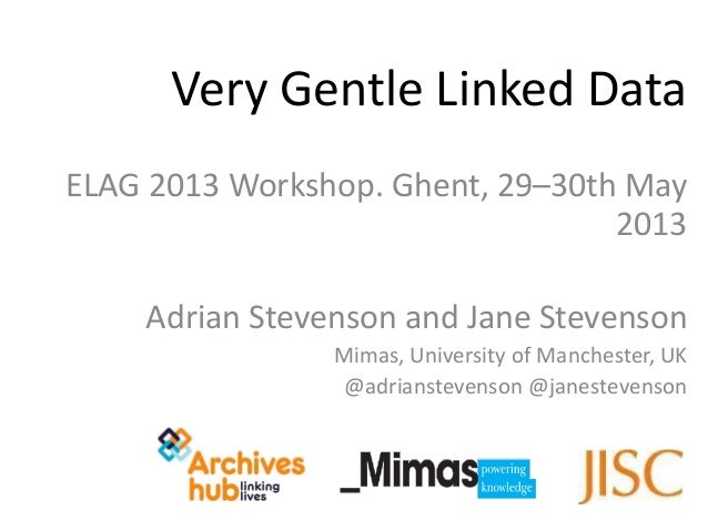 ELAG 2013 Workshop. Ghent, 29–30th May2013Adrian Stevenson and Jane StevensonMimas, University of Manchester, UK@adrianste...