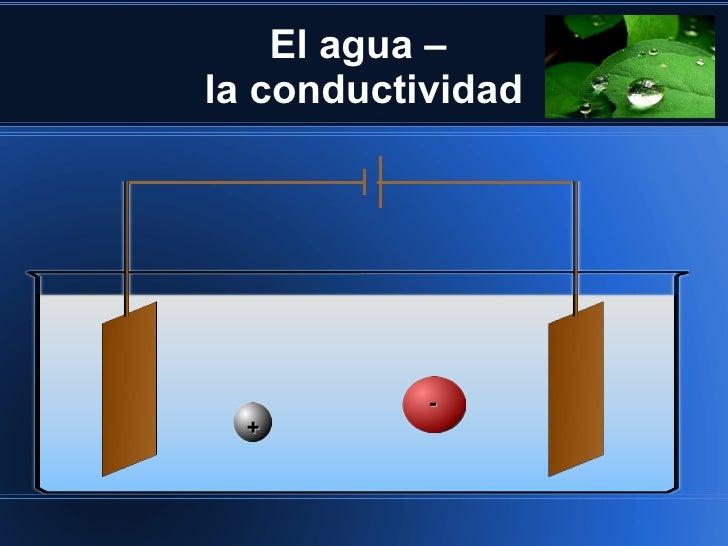 El agua –la conductividad           -  +