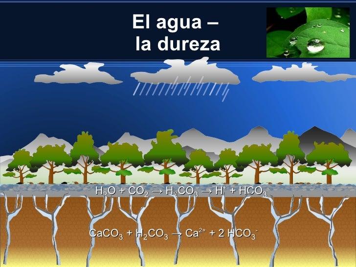 El agua –       la dureza H2O + CO2 → H2CO3 → H+ + HCO3-CaCO3 + H2CO3 → Ca2+ + 2 HCO3-