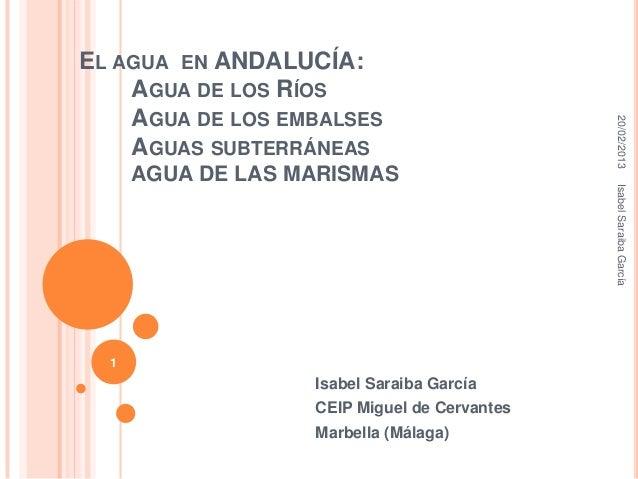 EL AGUA EN ANDALUCÍA:    AGUA DE LOS RÍOS    AGUA DE LOS EMBALSES                                              20/02/2013 ...