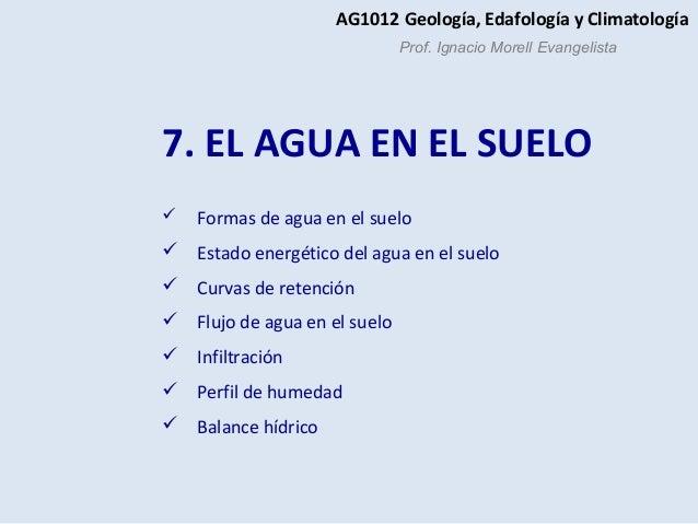 7. EL AGUA EN EL SUELO  Formas de agua en el suelo  Estado energético del agua en el suelo  Curvas de retención  Flujo...