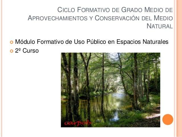 CICLO FORMATIVO DE GRADO MEDIO DE APROVECHAMIENTOS Y CONSERVACIÓN DEL MEDIO NATURAL  Módulo Formativo de Uso Público en E...
