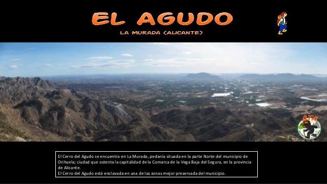 El Cerro del Agudo se encuentra en La Murada, pedanía situada en la parte Norte del municipio de Orihuela; ciudad que oste...