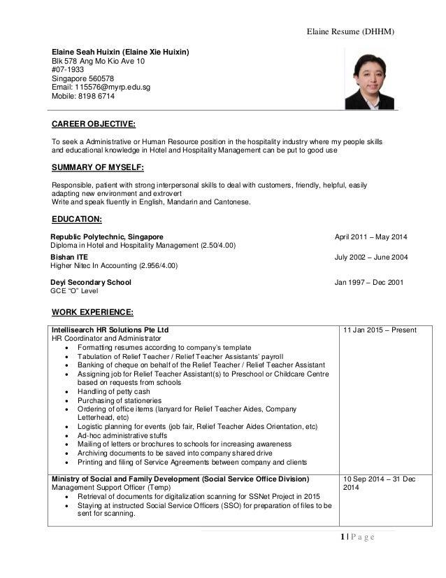 Elaine resume hospitality portfolio elaine resume dhhm 1 p a g e elaine seah huixin elaine xie huixin altavistaventures Images