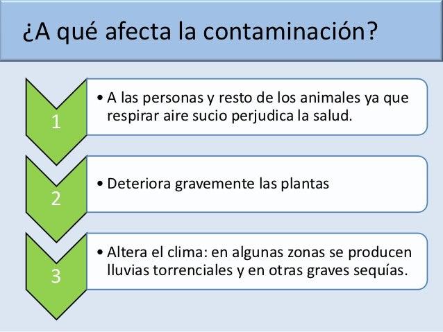 ¿A qué afecta la contaminación?      • A las personas y resto de los animales ya que  1     respirar aire sucio perjudica ...
