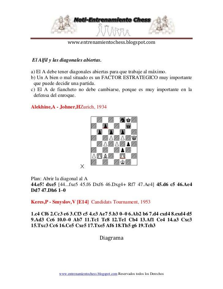 www.entrenamientochess.blogspot.comEl Alfil y las diagonales abiertas.a) El A debe tener diagonales abiertas para que trab...