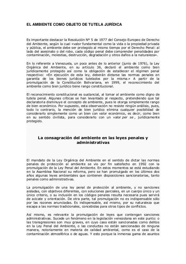 EL AMBIENTE COMO OBJETO DE TUTELA JURÍDICA  Es importante destacar la Resolución Nº 5 de 1977 del Consejo Europeo de Derec...