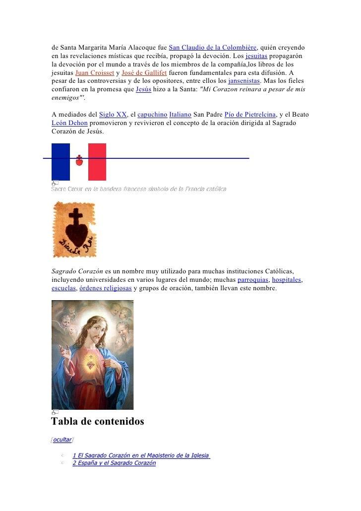 o 2.1 Monumentos en España    •   3 Hispanoamérica y el Sagrado corazón    •   4 Entronización en la familia    •   5 Véas...