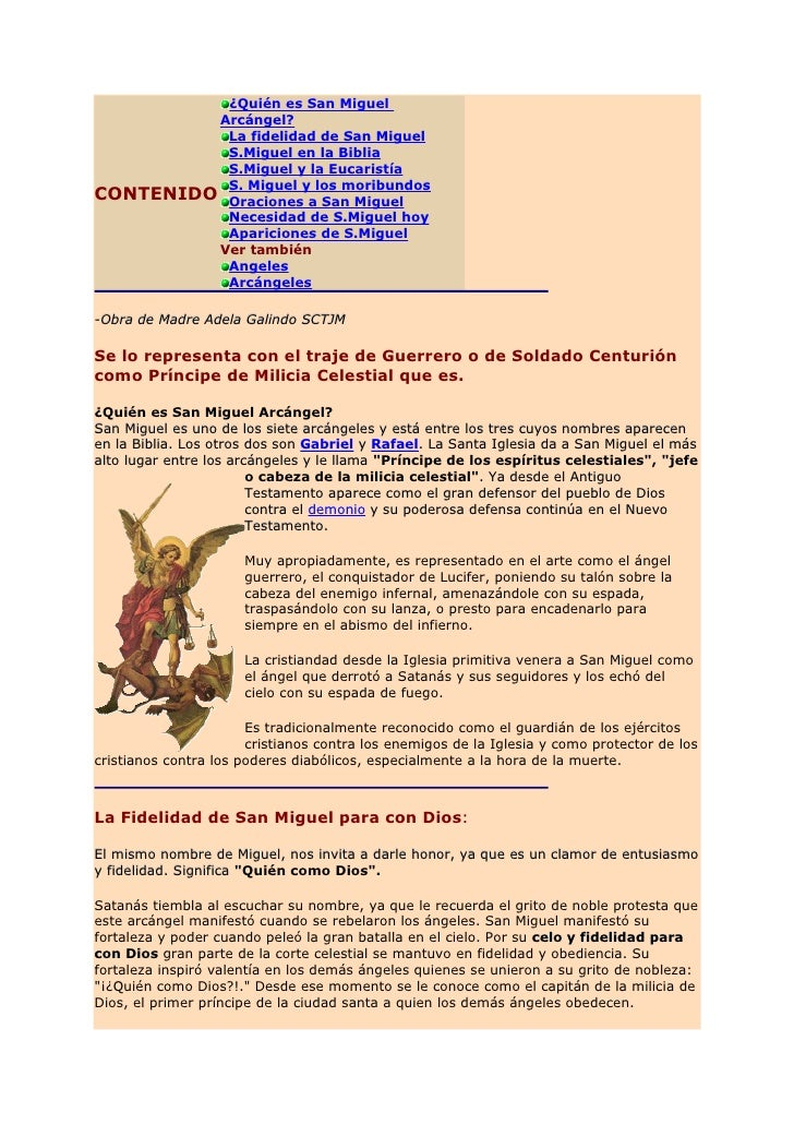 San Miguel en las Sagradas Escrituras  En el Antiguo Testamento San Miguel aparece como el guardián de la nación hebrea.  ...