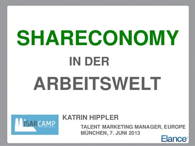 KATRIN HIPPLERTALENT MARKETING MANAGER, EUROPEMÜNCHEN, 7. JUNI 2013IN DERSHARECONOMYARBEITSWELT