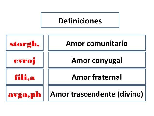 Definicionesavga,phfili,aevrojstorgh, Amor comunitarioAmor fraternalAmor conyugalAmor trascendente (divino)