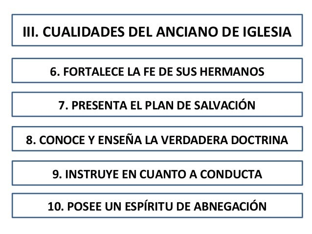 III. CUALIDADES DEL ANCIANO DE IGLESIA6. FORTALECE LA FE DE SUS HERMANOS7. PRESENTA EL PLAN DE SALVACIÓN8. CONOCE Y ENSEÑA...
