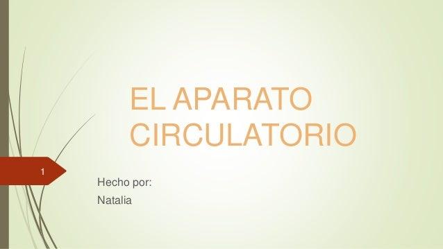 EL APARATO CIRCULATORIO Hecho por: Natalia 1