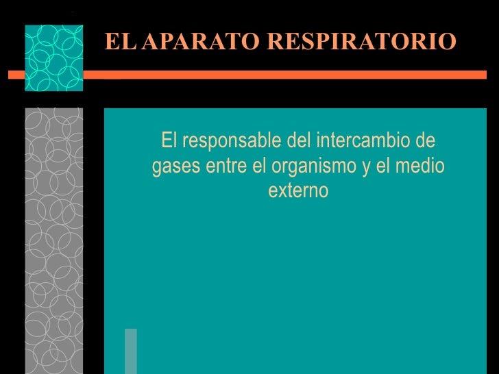 EL APARATO RESPIRATORIO El responsable del intercambio de gases entre el organismo y el medio externo